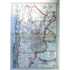 Argentine and Chile Railways Vintage Antique Map From 1920