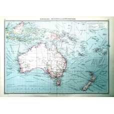 Australasia Industries Communications Vintage Antique Map From 1907
