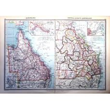 Australia South Central Queensland Vintage Antique Map From 1907