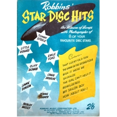 Robbins' Star Disc Hits Magazine Featuring Piano Music For 8 Songs & Info