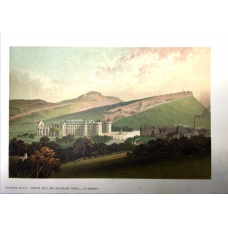Edinburgh Holyrood Palace From Arthur Seat & Salisbury Cragg Vintage Antique Print From Scotland In 1889