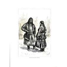 Ostyak Types and Costumes 1885 Russian Vintage Antique Print