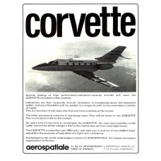 Aerospatiale Corvette Twin Jet Aircraft Vintage Magazine Advert From 1974