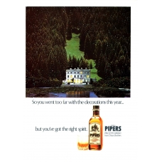Pipers Fine Scotch Whisky From The Pipers Brothers 1978 Vintage Magazine Advert